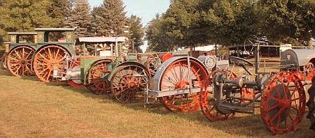 Line of old tractors
